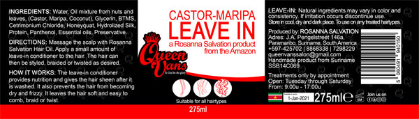 4a SSB14C069 5060491940150 Queen Vans Leave In Castor Maripa 275ml 225mmx60mm RGB 1200px