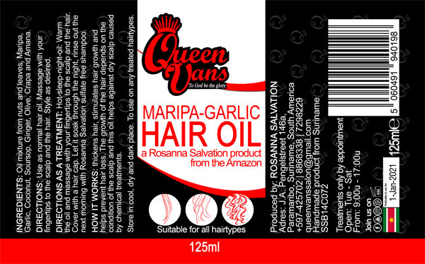 5c SSB14C072 5060491940198 Queen Vans Hair Oil Maripa Garlic 125ml 77mmx127mm RGB 1200px