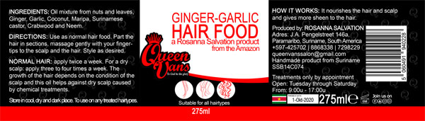 6c  SSB14C074 5060491940228 Queen Vans Hair Food Ginger Garlic 275ml 225mmx60mm RGB 1200px